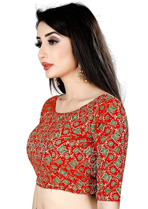 Butterfly Print Blouse In Red Brocade SIYA26BL - Siya Fashions