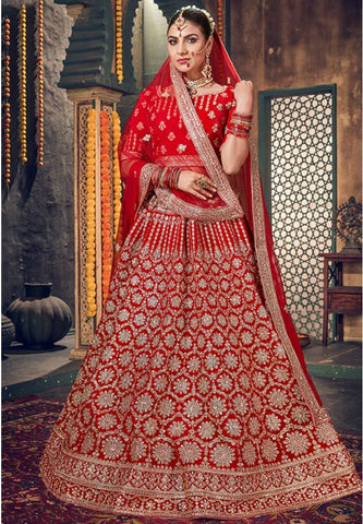 Buy Royal Hot Red Bridal Velvet Lehenga Set Hand Crafted MAYYDS456 - Siya Fashions