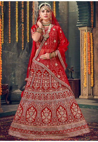 Buy Royal Hot Red Bridal Velvet Lehenga Set Hand Crafted MAYYDS64 - Siya Fashions