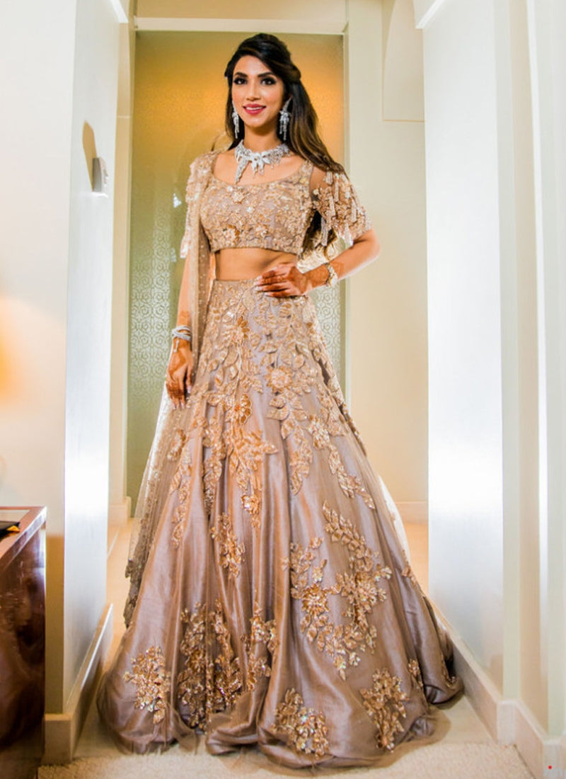 Buy Bridal Grey Tone Flared Lehenga In Silk