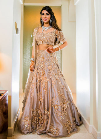 Buy Bridal Grey Tone Flared Lehenga In Silk - Siya Fashions