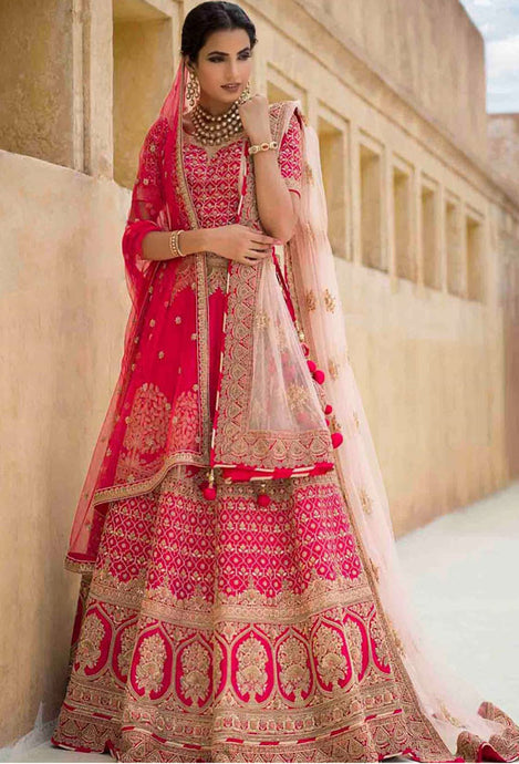 Buy Bridal Wedding Pink Lehenga In Silk SF017 - Siya Fashions