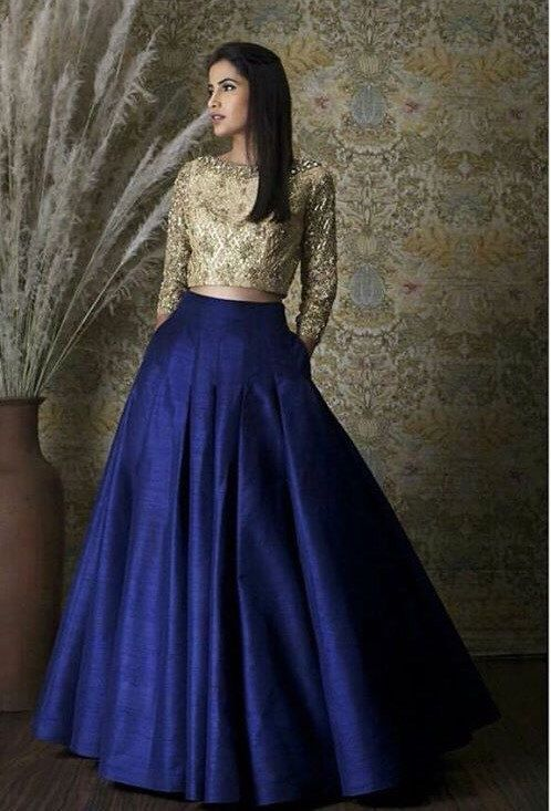 Buy Evening Royal Blue Lehenga With Gold Blouse SFIN320