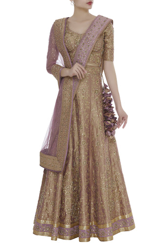 Buy Gold Zardozi With Zari Lehenga SFIN310 - Siya Fashions
