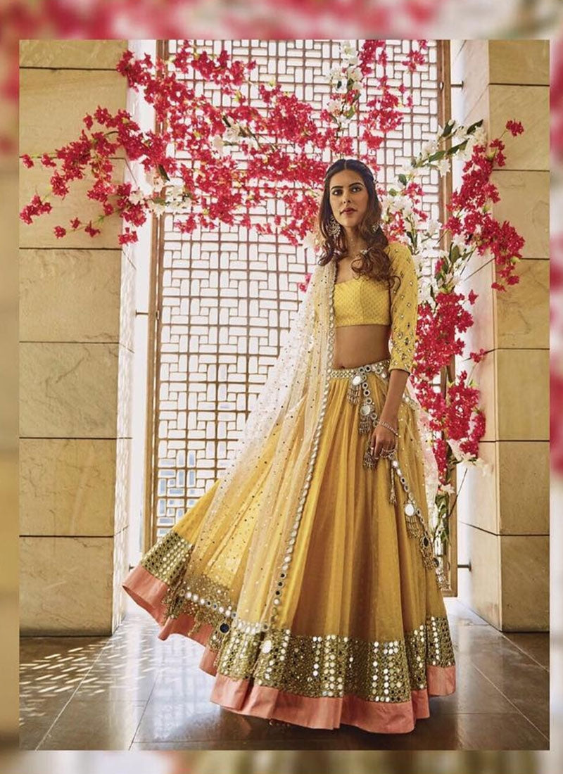 Buy Haldi Ceremony Silk Wedding Lehenga In Yellow SF2152IN - Siya Fashions
