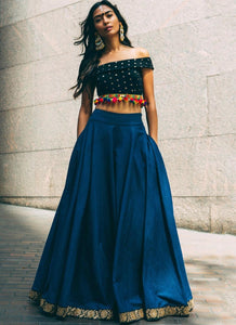 Buy Online Sea Blue Silk Lehenga Choli SF82SSE