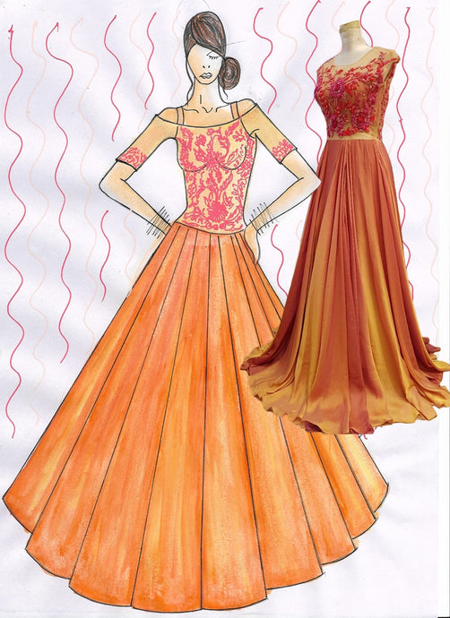 Buy Orange Colour Lehenga Gown SFI53 - Siya Fashions