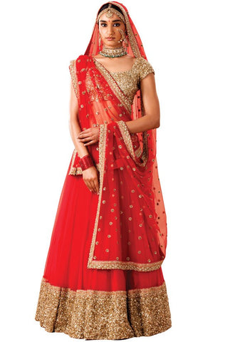 Buy Red Gold Sequin Lehenga SF112YD