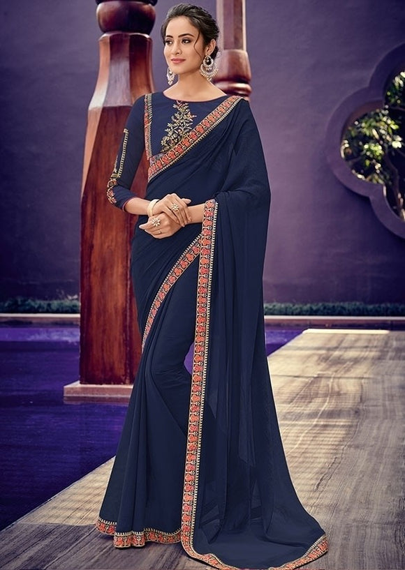 Buy Sangeet Navy Party Saree In Chiffon With Floral Lace SF227EX - Siya Fashions