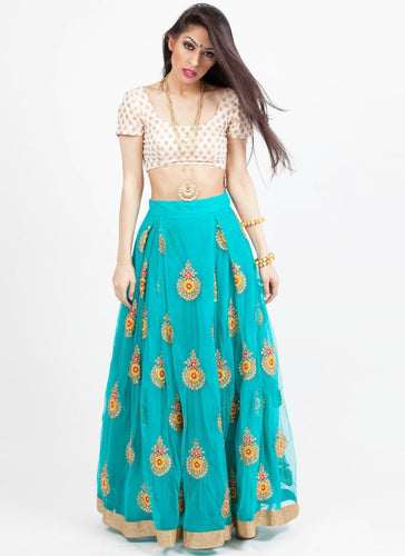 Buy Turquoise Net Fabric Crop Top Style Lehenga Skirt SF983 - Siya Fashions