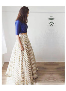 Buy White And Blue Lehenga Skirt In Resham Work SF40093IN - Siya Fashions
