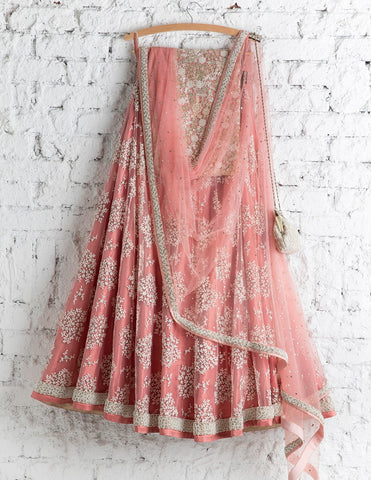 Pastel Pink Bridal Reception Lehenga Set In Net Heavy Handwork INS912 - Siya Fashions