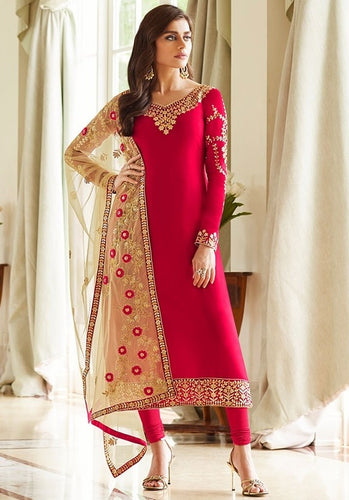 Candy Pink Churidar In Georgette Fabric SIYA0298 - Siya Fashions