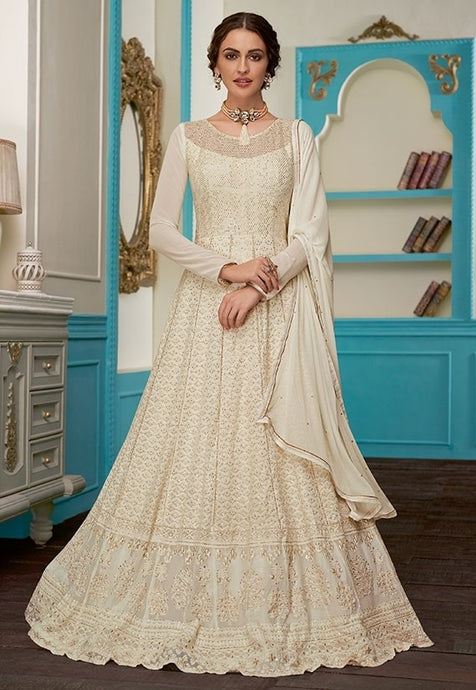 Charm Ivory Evening Anarkali Georgette SFYDS9123