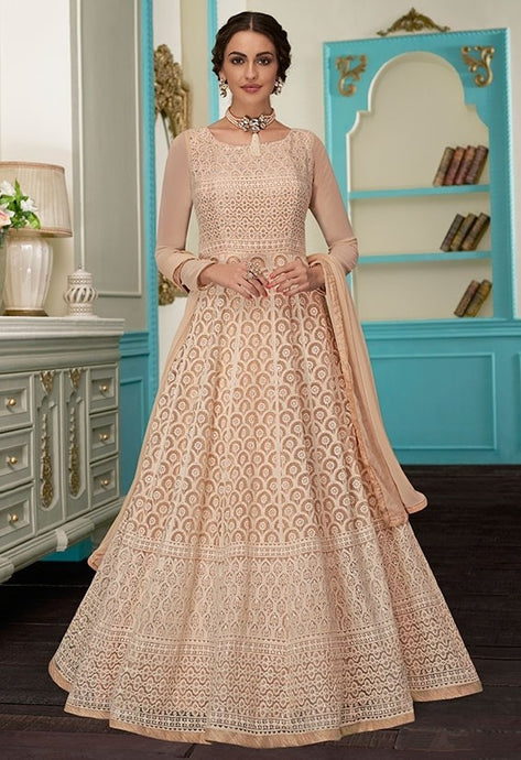 Charm Peach Evening Anarkali Georgette SFYDS9125