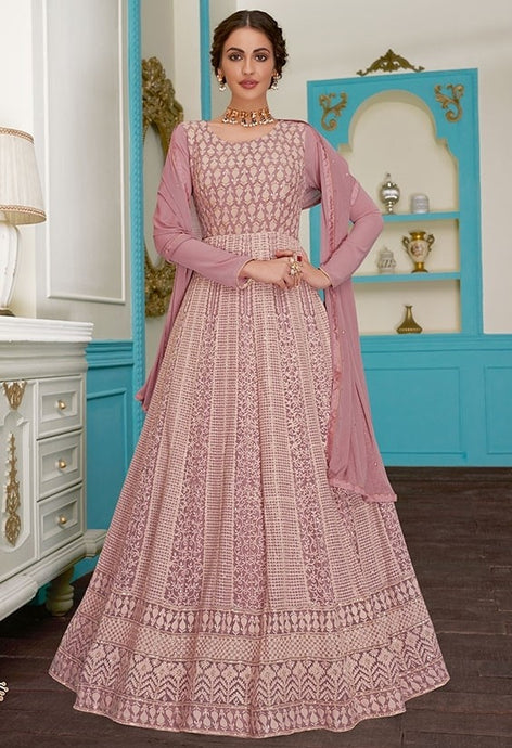 Charm Pink Evening Anarkali Georgette SFYDS9124