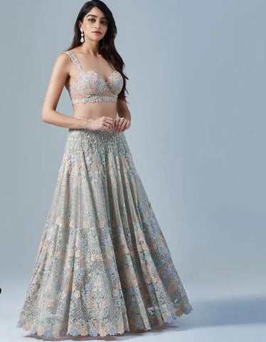 Bridal Cocktail Ice Blue Prom Lehenga Choli SF99902 - Siya Fashions