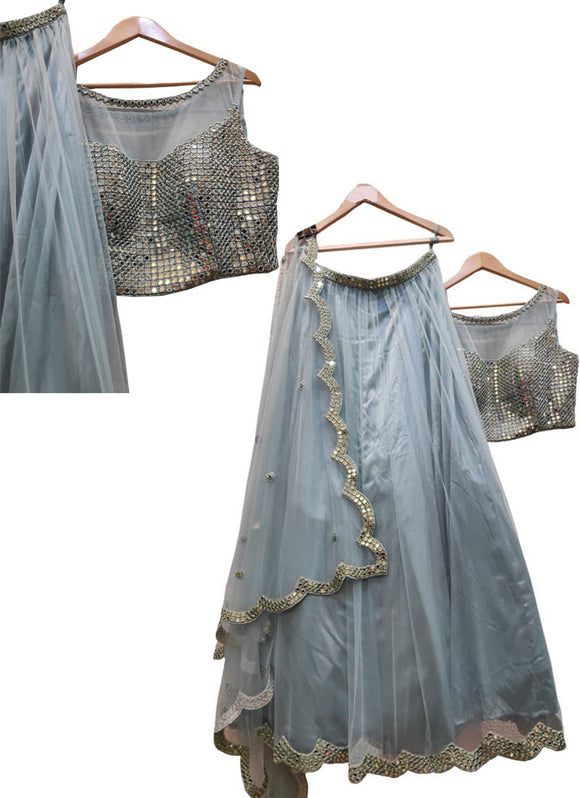 Client's Dairy Exclusive Wedding Party Grey Lehenga In Net SFIN0432