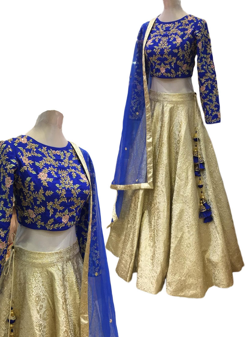 Client's Dairy Exclusive Wedding Lehenga Ivory Blue In Silk SFIN2312 - Siya Fashions