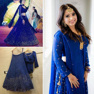 Clients Diary Georgette Blue Sequin Lehenga SFI092 - Siya Fashions