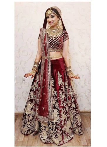 Clients Diary Red Bridal Lehenga Choli In Velvet SFCD24 - Siya Fashions