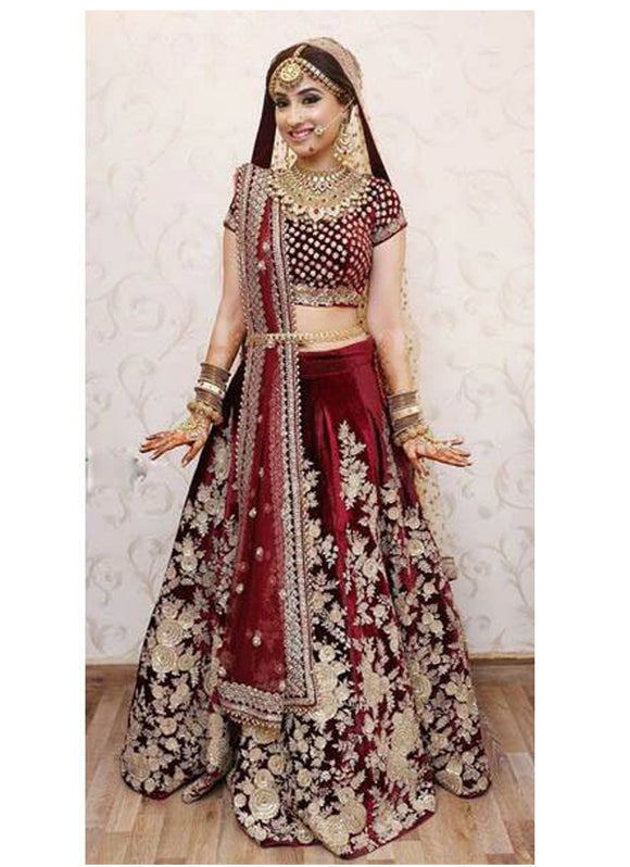 Clients Diary Red Bridal Lehenga Choli In Velvet SFCD24
