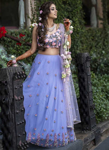 Cocktail Lavender Wedding Net Lehenga SF1109IN - Siya Fashions
