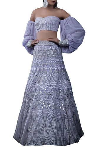 Cocktail Wedding Lehenga Choli With Mirror Work SFIN0021 - Siya Fashions