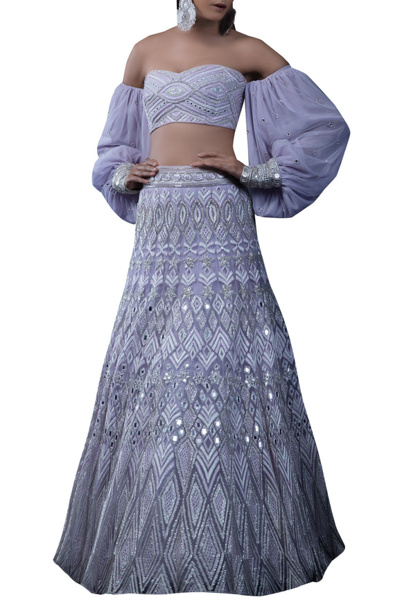 Cocktail Wedding Lehenga Choli With Mirror Work SFIN0021
