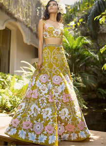 Cocktail Wedding Reception Lehenga In Green Pink Floral SFIN0913 - Siya Fashions