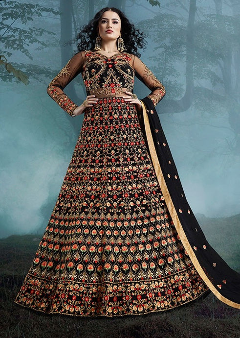 Comprehensive Bridesmaid Black Lehenga Kameez Suit SI3321 - Siya Fashions