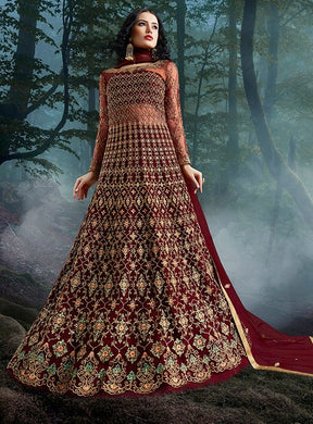 Comprehensive Bridesmaid Wine Lehenga Kameez Suit SI3322