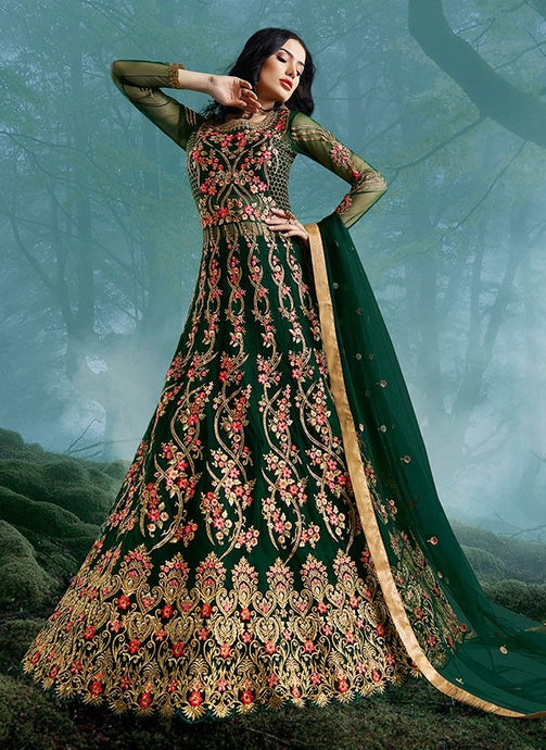 Comprehensive Green Lehenga Kameez Suit SI3325 - Siya Fashions