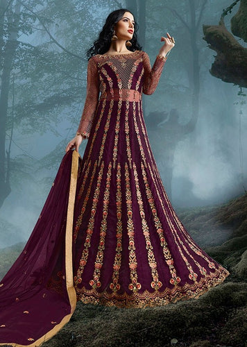 Comprehensive Hot Wine Lehenga Kameez Suit SI3324