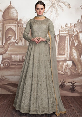 Couture Grey Anarkali Georgette Gown In Net SIYA33901 - Siya Fashions