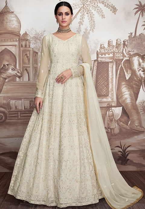 Couture White Anarkali Georgette Gown In Net SIYA73902 - Siya Fashions