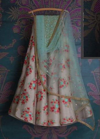 Cream Floral Bridal Reception Lehenga Set In Silk Heavy Handwork INS1534