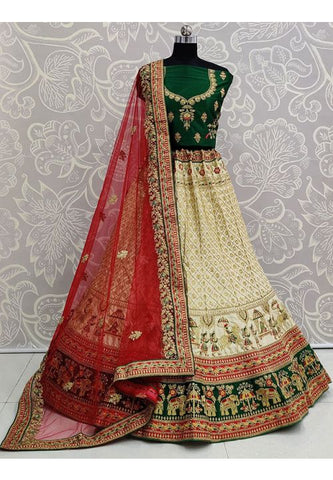 Cream Heavy Bridal Lehenga In Satin With Stone Work SIYA3234 - Siya Fashions