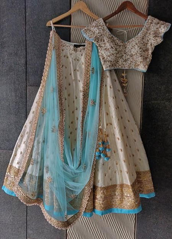 Cream Wedding Party Silk Lehenga Set INSPMAY429