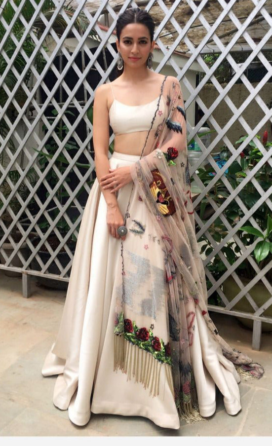 Cream Party Prom Lehenga Skirt With Sequin Dupatta SIYA103INS - Siya Fashions