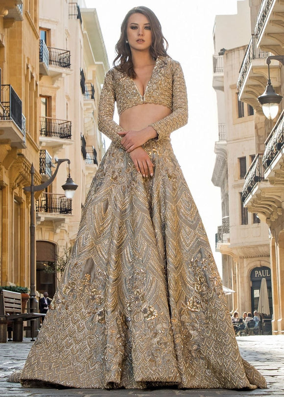 Custom Made Bridal Gold Lehenga With Dabka Work SFIN2202