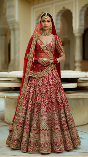 Customised Handcrafted Red Bridal Lehenga Choli Resham Work SF674SD - Siya Fashions