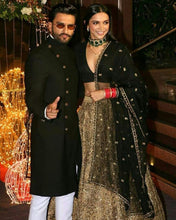 Load image into Gallery viewer, Deepika Padukone Sabyasachi Inspired Black Gold Lehenga - Siya Fashions