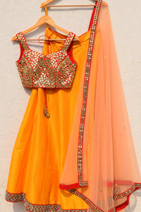 Dark Orange Yellow Red Lehenga Choli SFVU9001 - Siya Fashions