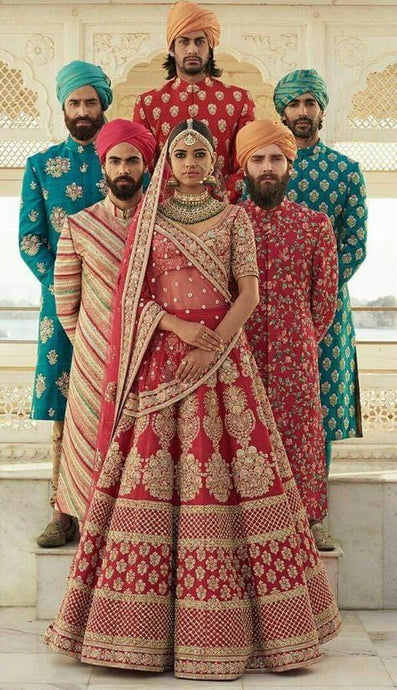 Red Bridal Handwork Full Embroidery Zardozi Work SFINSB93 - Siya Fashions