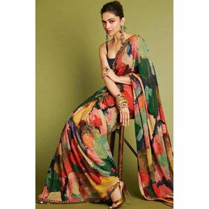 Deepika Multi Georgette Saree Sequin SFBOL4533 - Siya Fashions