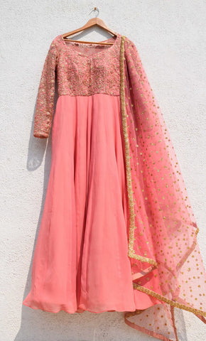 Delight Pink Anarkali Wedding Suit With Seqiun SFIN0923 - Siya Fashions