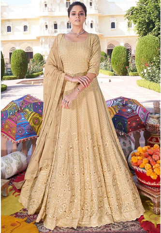 Designer Beige Long Readymade Anarkali Suit Lakhnavi Work APR2024 - Siya Fashions