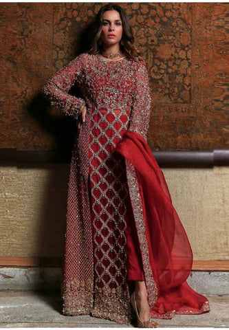 Designer Bridal Red Long  Churidar Suit Georgette YD0942 - Siya Fashions