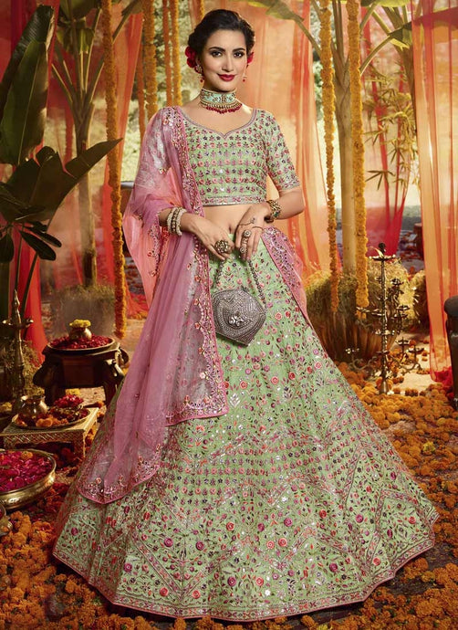 Designer Green Reception Party Lehenga Set In Pure organza SF44WD - Siya Fashions